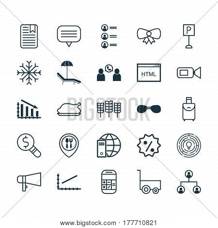 Set Of 25 Universal Editable Icons. Can Be Used For Web, Mobile And App Design. Includes Elements Such As Line Graph, Internet Network, Business Inspection And More.