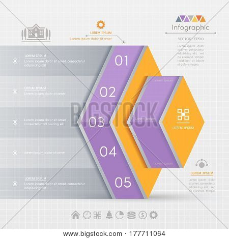 Rhombus Infographics design template with business icons process diagram vector eps10 illustration