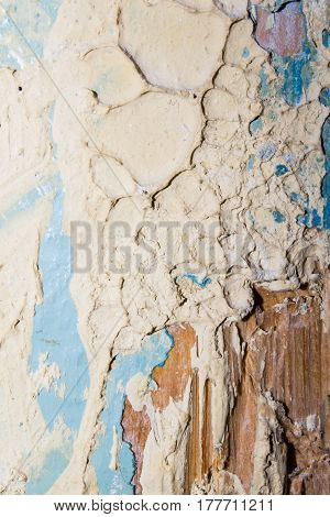 Old Broken Cracked Wall With Paint Background