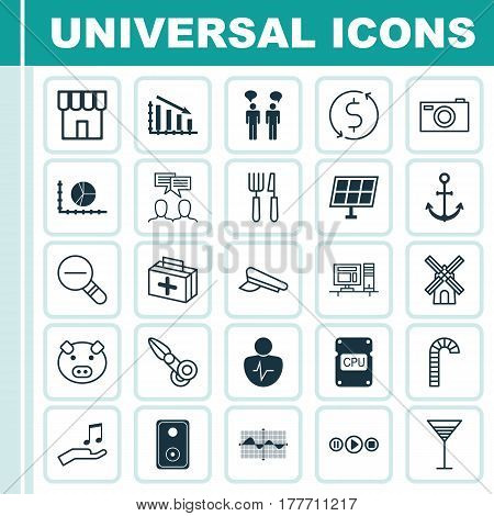 Set Of 25 Universal Editable Icons. Can Be Used For Web, Mobile And App Design. Includes Elements Such As Computer, Personal Character, Fail Graph And More.