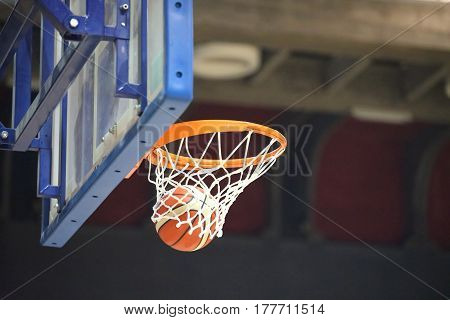 basketball going into the basket after a fantastic shot