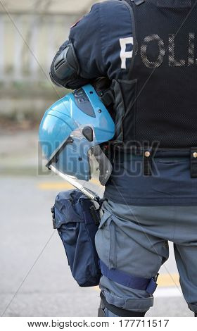 Blue Helmets Of The Policeman During An Anti-terrorism Control O
