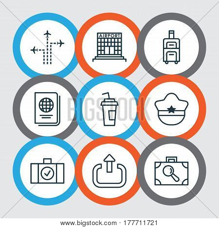 Set Of 9 Travel Icons. Includes Pilot Hat, Identification Document, Drink Cup And Other Symbols. Beautiful Design Elements.