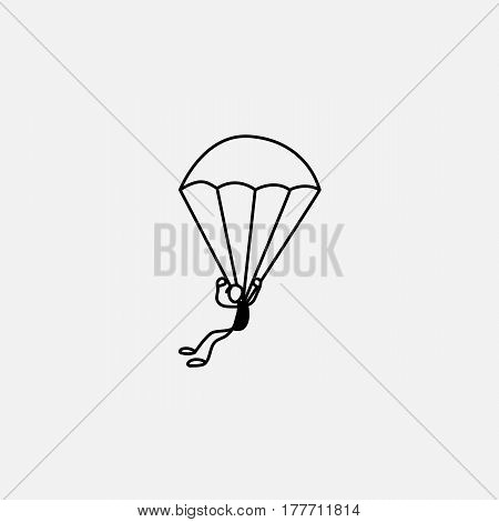 Stick figure parachutist in air vector falling