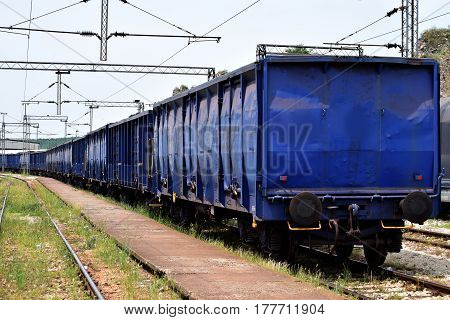 railway transport wagons on the railroad tracks