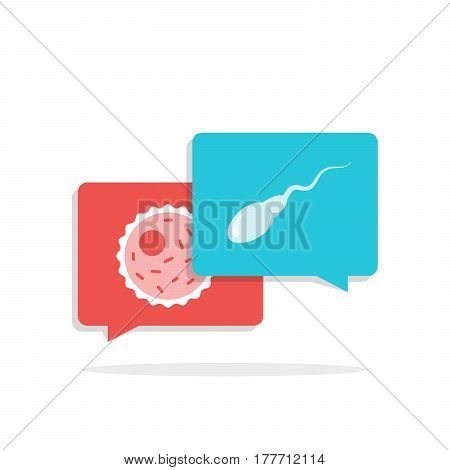 Interaction of sperm and egg. White icons in color speech bubbles. Flat illustration isolated on white background