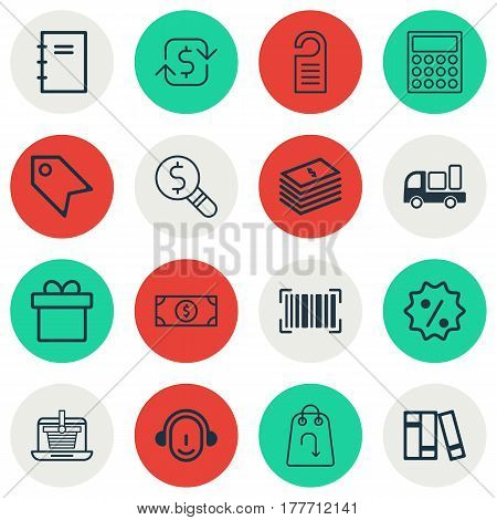 Set Of 16 Commerce Icons. Includes Delivery, Bookshelf, Buck And Other Symbols. Beautiful Design Elements.