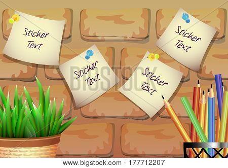 A composition with a stickers, a pot of plants and colored pencils in realistic style. Brick texture background.