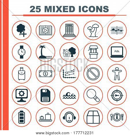 Set Of 25 Universal Editable Icons. Can Be Used For Web, Mobile And App Design. Includes Elements Such As Filled Wave Chart, Water Source, Academy And More.