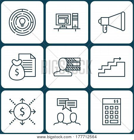 Set Of 9 Project Management Icons. Includes Investment, Discussion, Innovation And Other Symbols. Beautiful Design Elements.
