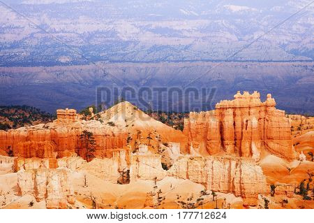 Beautiful mountain scene of Bryce Canyon National Park in Utah, USA