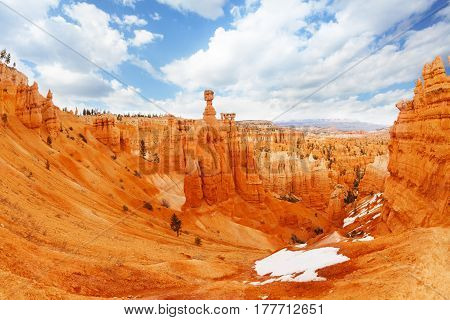 Huge ravine among sandstone mountains at Bryce Canyon National Park, USA