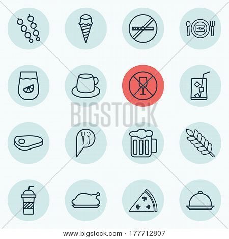 Set Of 16 Eating Icons. Includes Soda, Stick Batbecue, Dessert And Other Symbols. Beautiful Design Elements.