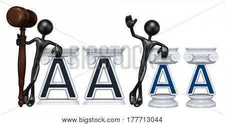 Lawyer Leaning On A Letter A The Original 3D Character Illustration