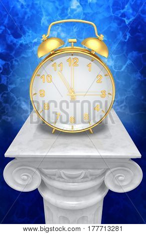 Alarm Clock On A Column 3D Illustration