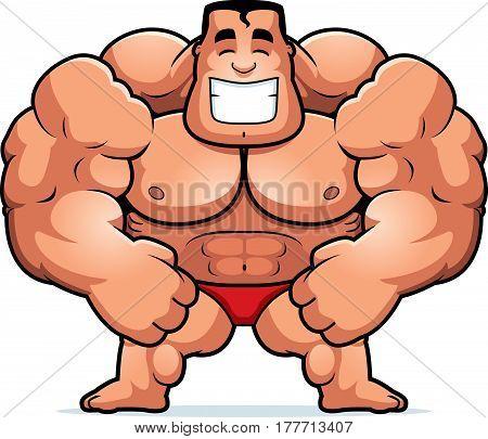 A cartoon illustration of a bodybuilder flexing.