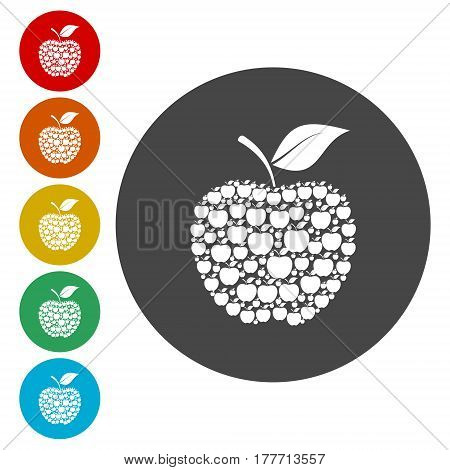 Apple sign icon. Fruit with leaf symbol, simple vector icon