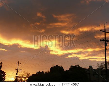 A sunrise with bright bold stripe with silhouette of trees in San Jose