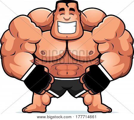 Cartoon Mma Fighter Flexing
