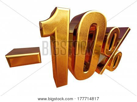 3d render: Gold 10 Percent Off Discount Sign