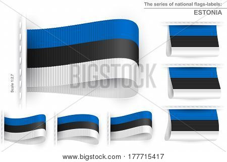 National state flag of Estonia; Sewn clothing label tag from flag of Republic of Estonia; Symbol of the estonian national patriotic pride and political power; Vector set icon Eps10