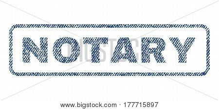 Notary text textile seal stamp watermark. Blue jeans fabric vectorized texture. Vector tag inside rounded rectangular shape. Rubber sign with fiber textile structure.