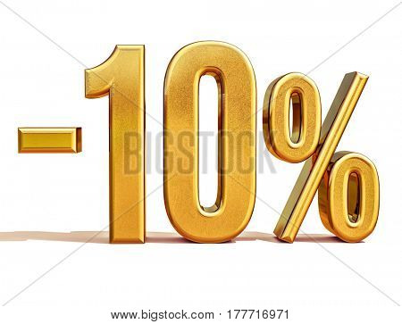 3d render: Gold 10 Percent Off Discount Sign