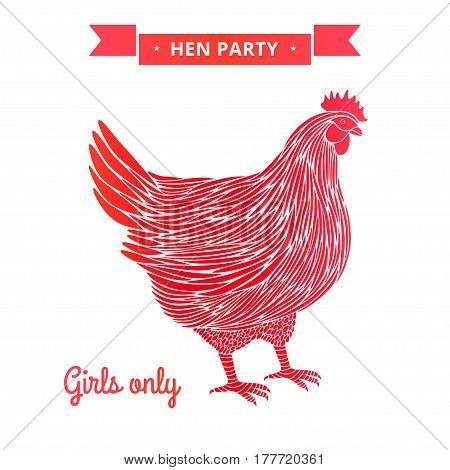 Hen party poster isoleted on white background.
