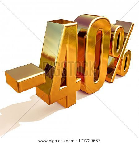 3d render: Gold -40%, Minus Forty Percent Discount Sign