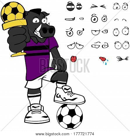 wild pig soccer cartoon expressions set in vector format