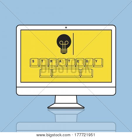 Strategy on keyboard with light bulb icon