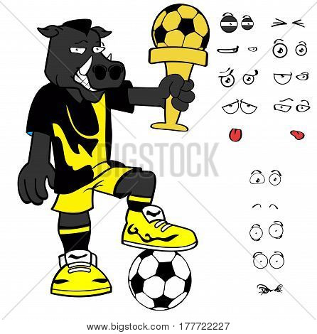 winner wild boar soccer cartoon expressions set in vector format