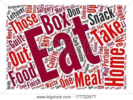 Avoid the Take Home Box Overload text background word cloud concept