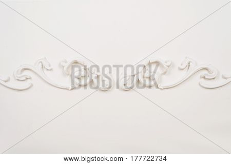 White beautiful stucco on white isolated background