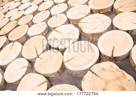 Horizontal background of wooden logs of different sizes in the same plane as the outgoing prospect