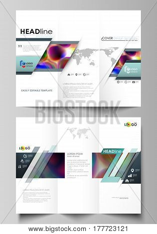 Tri-fold brochure business templates on both sides. Easy editable abstract layout in flat design, vector illustration. Colorful design background with abstract shapes, bright cell backdrop.