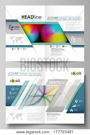 Business templates for bi fold brochure, magazine, flyer, booklet or annual report. Cover design template, easy editable vector, abstract flat layout in A4 size. Colorful design with overlapping geometric shapes and waves forming abstract beautiful backgr