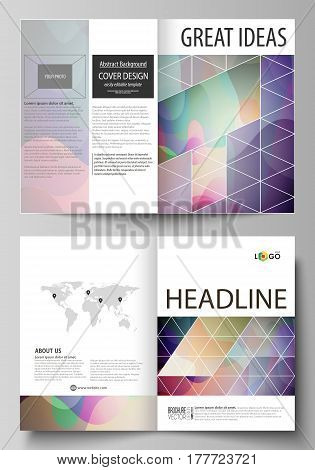 Business templates for bi fold brochure, magazine, flyer, booklet or annual report. Cover design template, easy editable vector, abstract flat layout in A4 size. Bright color pattern, colorful design with overlapping shapes forming abstract beautiful back