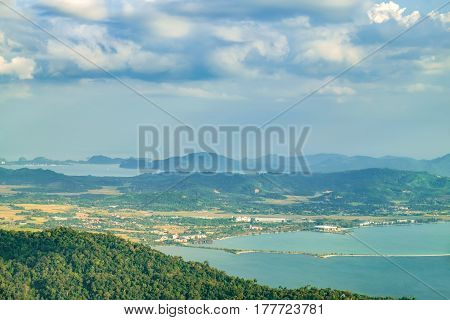 Panoramic view of blue sky sea and mountain seen from Cable Car viewpoint Langkawi Malaysia. Picturesque landscape with beaches small Islands and tourist ships at waters of Strait of Malacca