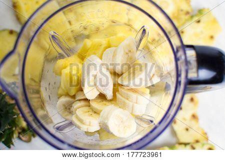 Sliced Pineapple And Banana In Blender