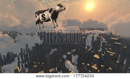 Surrealism. 3D render. Cow with dollar sign flies over futuristic megalopolis.    3D Render