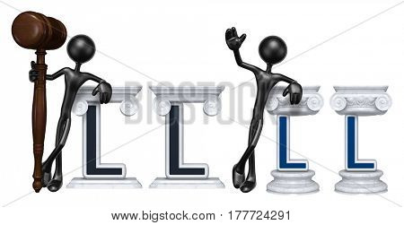 Lawyer Leaning On A Letter L The Original 3D Character Illustration