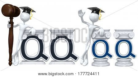 Education Lawyer Leaning On A Letter Q The Original 3D Character Illustration