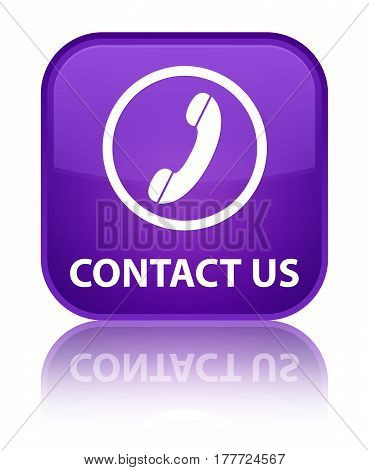 Contact Us (phone Icon) Special Purple Square Button