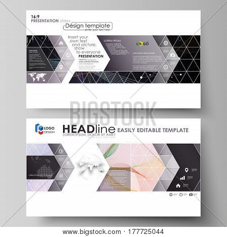 Business templates in HD format for presentation slides. Easy editable abstract vector layouts in flat design. Colorful abstract infographic background in minimalist style made from lines, symbols, charts, diagrams and other elements.