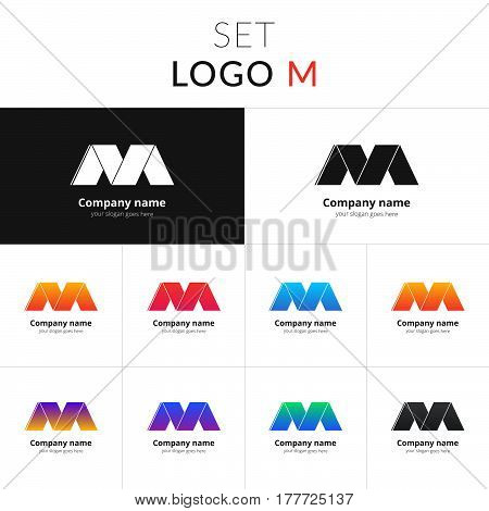 M letter logo set vector design. Abstract business logo on gradient color background. M icon, sign for template. Colorful symbol on isolated white and black background.
