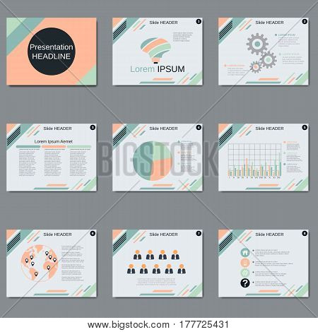 Professional business presentation, slide show vector design template. White background with colorful geometric elements