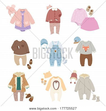 Vector baby clothes icon set design textile. Casual fabric colorful dress. Child garment wear illustration. Cute object suit infant cotton.