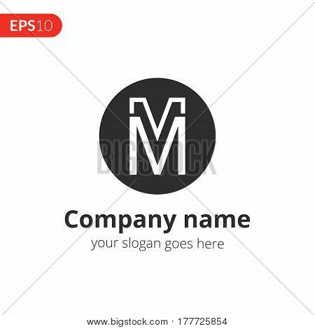 M and M letter logo vector design. Abstract business logo. Monochrome monogram in the circle shape icon template. Grey color symbol on isolated white background.