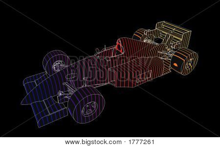 Technical rendering of a Formula 1 racing car. This file contains a clipping path. poster